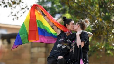 """Same sex marriage supporters at the """"Straight Lives Matter"""" rally in Sydney."""