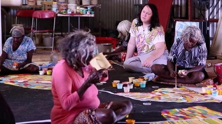 British singer Anohni, formerly Antony Hegarty of Antony and The Johnsons, working with indigenous artists from the Matu community at Parnngurr in Western Australia.