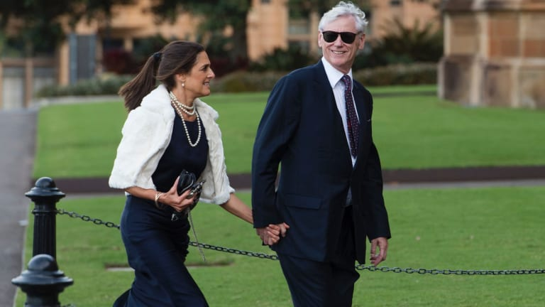 Bruce McWilliam and his wife Nicky at a wedding at Sydney University, May 2017.