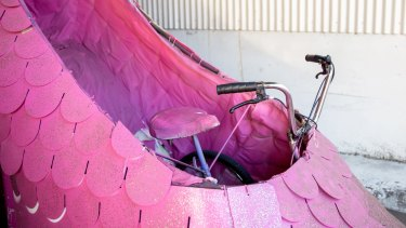 The antique features a three-wheeler bike on the inside, which is secured by cane sticks and surrounded by a steel frame and mesh.