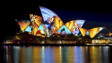 The Sydney Opera House sails during the 2014 Vivid Sydney festival.