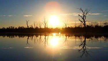 Australia's hottest spot: The sun rises over the Murray River in Mildura.