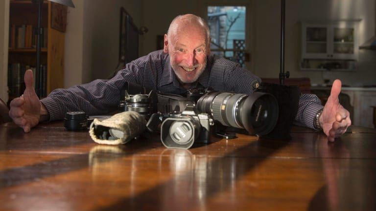 Rick Evans with some of his camera gear.
