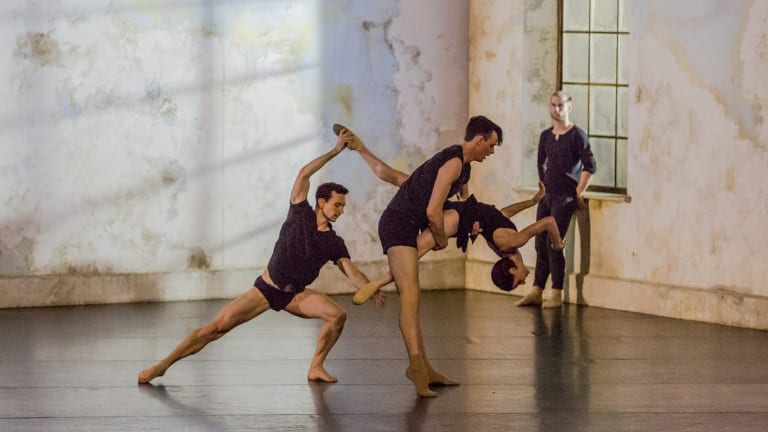 """Claustrophobic unrest: Todd Sutherland, Sam Young-Wright and Jesse Scales in the minimalist set for """"Frame of Mind""""."""