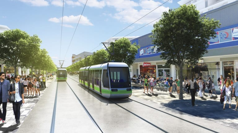An artist's impression of the Gungahlin interchange of Canberra's proposed light rail network, which will travel past Harrison via Flemington Road.