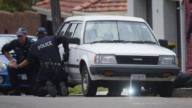 Police at the scene where Pasquale Barbaro was shot dead.