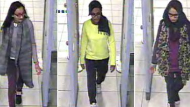 British teenagers Kadiza Sultana, Amira Abase and Shamima Begum pass through Gatwick Airport in February on their way to Syria to become 'IS brides'.