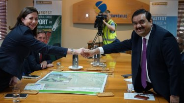 Queensland premier Annastacia Palaszczuk with Adani Group chairman Gautam Adani at the Port of Townsville last December.