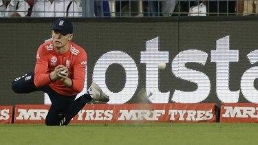 England's substitute fielder Sam Billings drops West Indian batsman Marlon Samuels.