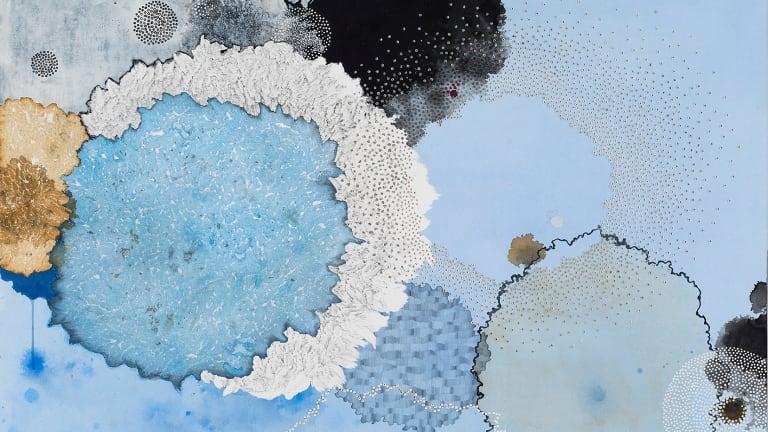 Melinda Schawel creates works of considerable lyricism, such as <i>Submerged</I>.