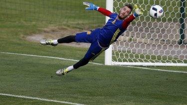 Spain's goalkeeper David De Gea in training.