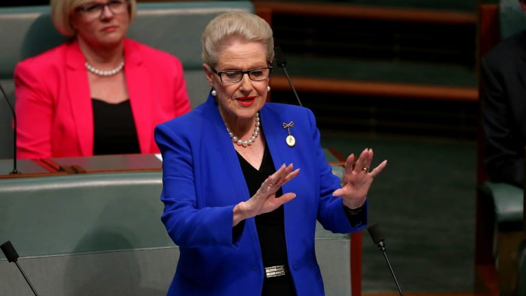 Former speaker Bronwyn Bishop delivers her valedictory in the House of Representatives in May 2016.