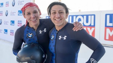 Olympic effort: Elena Meyers Taylor and Lolo Jones, members of the US bobsled team.