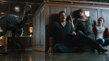 Chris Pratt (left) and Bryce Dallas Howard spend plenty of time on the run in Jurassic World: Fallen Kingdom.