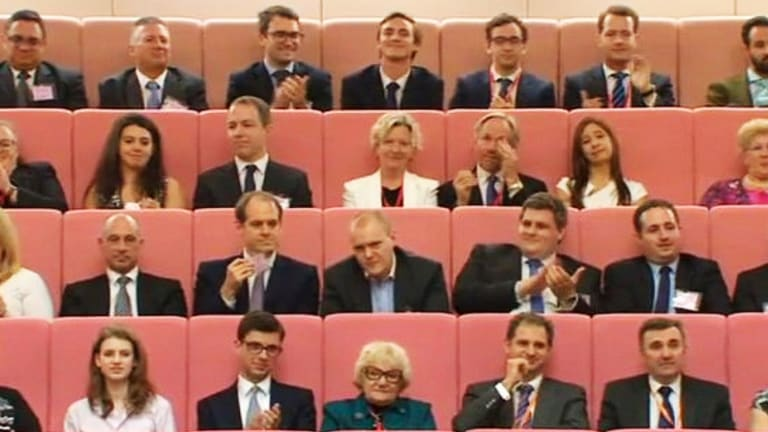 Christopher Koch (centre) in Parliament House to watch the maiden speech of Victorian Senator James Paterson.