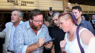 Autograph time for Shane Jacobson.