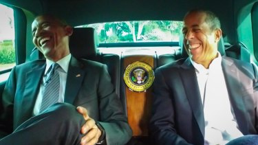 President Barack Obama with Jerry Seinfeld in a scene from <i>Comedians in Cars Getting Coffee</i>.