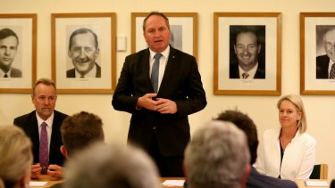 Barnaby Joyce addresses the Nationals' first post-election partyroom meeting at Parliament House in Canberra on Tuesday.