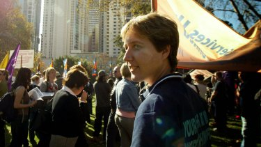 McManus pictured at a rally in 2005 as head of the Australian Services Union.