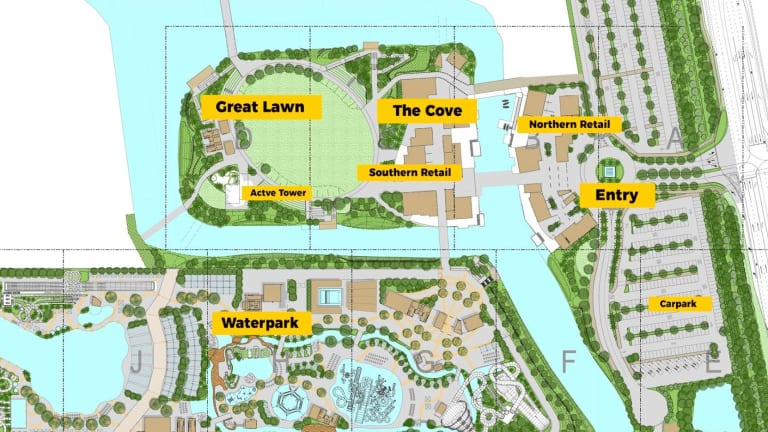 The plan shows the different areas of the ambitious theme park.