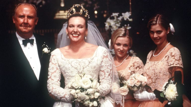 The wedding scene from <i>Muriel's Wedding</i> with Bill Hunter, Toni Collette, Belinda Jarrett and Sophie Lee.   Supplied for publicity purposes
