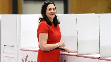 Premier Annastacia Palaszczuk casts her vote on Saturday.