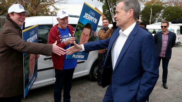 Opposition Leader Bill Shorten greets Liberal candidate for McEwen, Chris Jermyn.