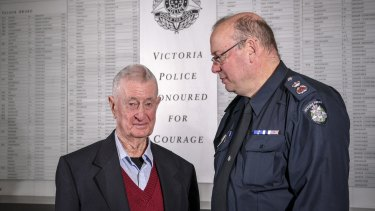 Former policeman Denis Ryan with Chief Commissioner Graham Ashton.