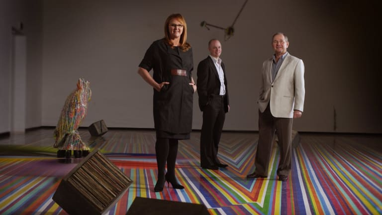 Hamish Balnaves (centre), with former Venice Biennale commissioner Naomi Milgrom and his philanthropist father Neil Balnaves.
