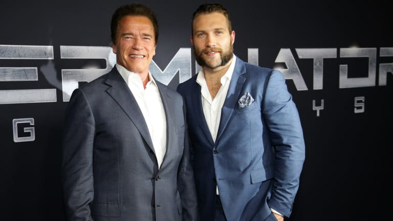 Arnold Schwarzenegger and Australian actor Jai Courtney at a <i>Terminator: Genisys</i> preview in Sydney earlier this month.
