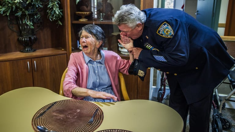The moment Detective Howard Shank of the NYPD surprised Berenice Benson at her nursing home.