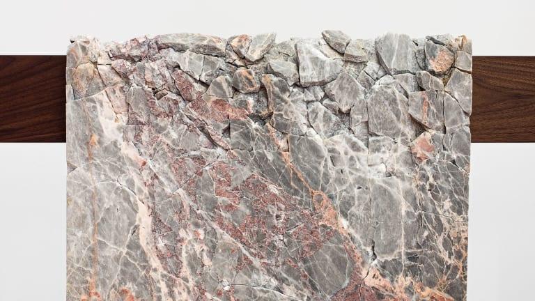 Analia Saban's <i>Draped Marble</i> (Crema Dorlion), 2015 (detail).