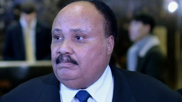 Martin Luther King III in the lobby of Trump Tower.