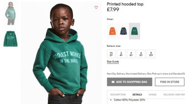 The advert for a hoodie by H&M featured a child wearing a 'monkey' hoodie.