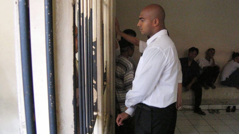 Myuran Sukumaran at the Denpasar court for the first of the Bali nine trials.