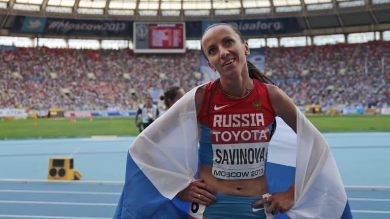 Action: Russian 800 metre champion Mariya Savinova.