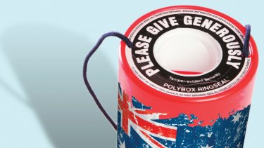 Donation tins...an old fashioned method still overused.