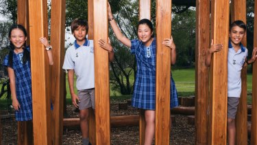 Serena Chui, Philemon Winter, Ashly Fan and Mahdi Mourad from Hurstville Public are hoping to get into a selective high school.