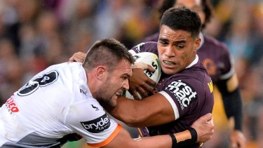 Joe Ofahengaue during the round 12 NRL match between the Brisbane Broncos and the Wests Tigers.
