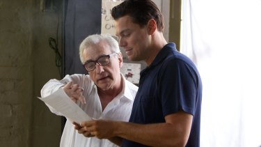 Scorsese and DiCaprio on the set of Wolf of Wall Street.