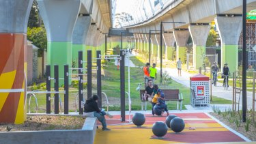 Koornang Road Community Space, part of the Underline created by the Victorian government's Skyrail project.
