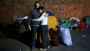 """Homeless couple """"John"""" and """"Kelly"""" have been evicted  from their makeshift camp at Enterprize Park."""