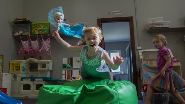 Taking turns: Four-year-olds Addison Cameron, left,  and Zarah Ransom  at the Balcombe Heights Playgroup. in Sydney