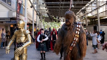Chewbacca and C-3PO led the intergalactic reinforcements for part of the parade.