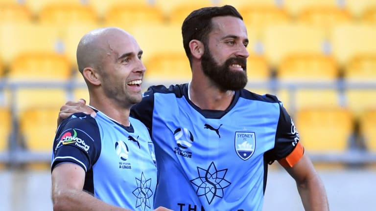 Brothers-in-arms: Adrian Mierzejewski and Alex Brosque celebrate the Polish international's goal.