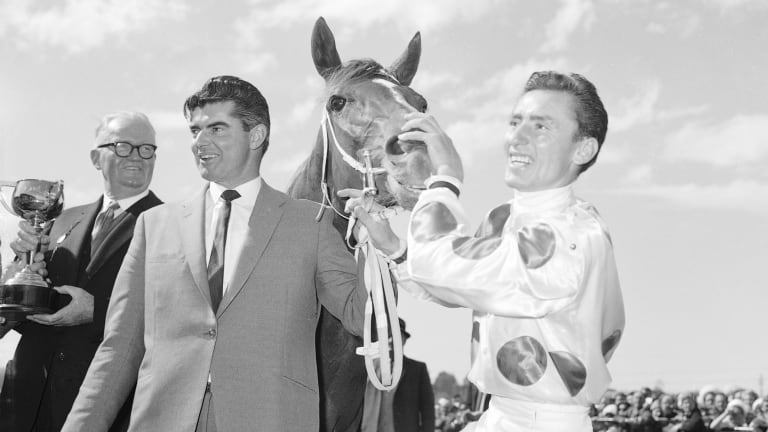 Number 1: Bart Cummings, Light Fingers and Roy Higgins after the 1965 Melbourne Cup