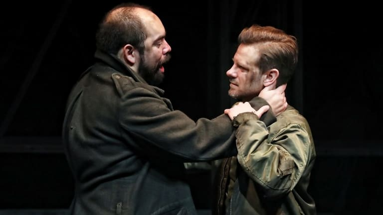 Ivan Donato (Brutus) and Nick Simpson-Deeks (Cassio) in a scene from Julius Caesar.