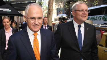 Prime Minister Malcolm Turnbull, pictured with Treasurer Scott Morrison, said his party would preference Labor ahead of the Greens.