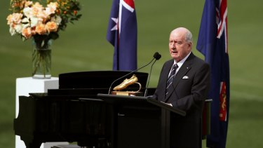 Broadcaster Alan Jones delivers a eulogy for Olympian Betty Cuthbert.