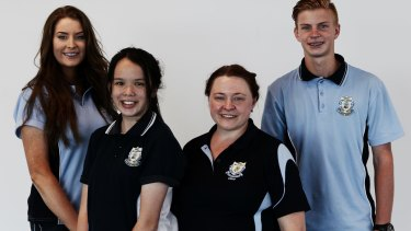 West Wallsend High science teacher Peggy Mangovski (second right) with students (from left) Sophie Sullivan, Jamie Sullivan, Cameron Chapman.
